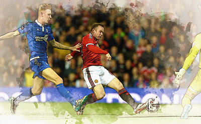 Wayne Rooney Digital Art - Wayne Rooney Of Manchester United Scores by Don Kuing