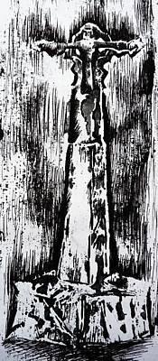 Wayside Cross Print by Lucy Deane