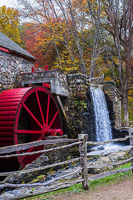 Wayside Inn Grist Mill Autumn Sudbury Ma Print by Toby McGuire