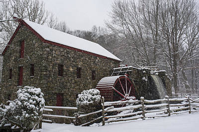 Wayside Inn Grist Mill Covered In Snow Fence Print by Toby McGuire