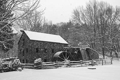 Wayside Inn Grist Mill Covered In Snow Storm Black And White Print by Toby McGuire
