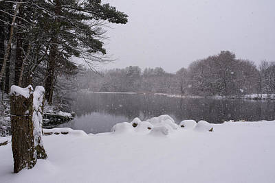 Wayside Inn Grist Mill Covered In Snow Storm Pond Print by Toby McGuire