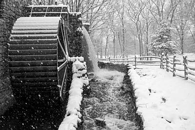 Wayside Inn Grist Mill Covered In Snow Storm Side View Black And White Print by Toby McGuire