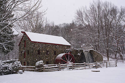 Wayside Inn Grist Mill Covered In Snow Storm Print by Toby McGuire