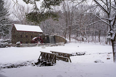 Wayside Inn Grist Mill Covered In Snow Print by Toby McGuire