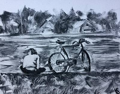 Charcoal Drawing - We All Need A Place To Go To by Victoria General
