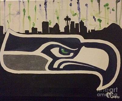 Seattle Skyline Drawing - We Are 12 by Courtney Cooper