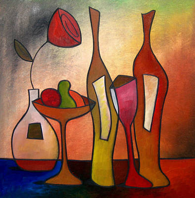 Cocktails Drawing - We Can Share - Abstract Wine Art By Fidostudio by Tom Fedro - Fidostudio