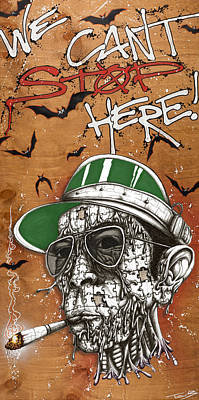 Hunter S. Thompson Mixed Media - We Can't Stop Here by Tai Taeoalii