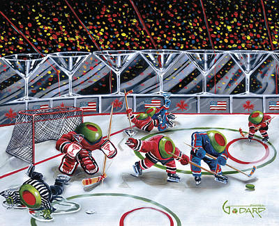 Martini Glasses Painting - We Olive Hockey by Michael Godard