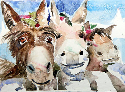 Donkey Watercolor Painting - We Three Wise Asses by Mindy Newman