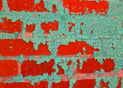 Weathered Painted Wall Two Print by Edmund Akers