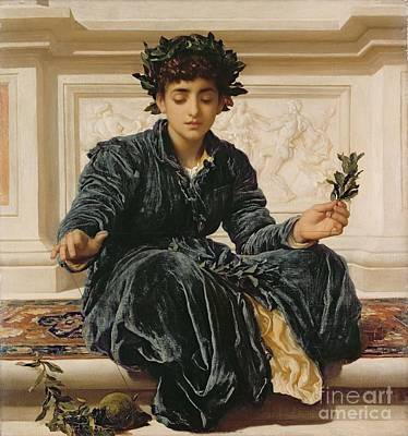 Wreath Painting - Weaving The Wreath by Frederic Leighton
