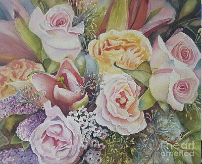 Wedding Bouquet Painting - Wedding Bouquet by Patricia Pushaw