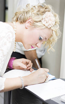 Wedding Guest Signing Wedding Guestbook Print by Jorgo Photography - Wall Art Gallery