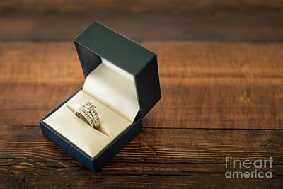Diamond Engagement Ring Photograph - Wedding Ring In Box Horizontal by Taylor Martinsen