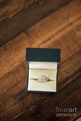 Diamond Engagement Ring Photograph - Wedding Ring In Box by Taylor Martinsen