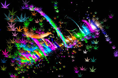 Abstract Digital Digital Art - Weed Art - Colorful Fractal Joint by Matthias Hauser