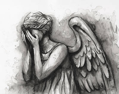 Weeping Painting - Weeping Angel Watercolor by Olga Shvartsur