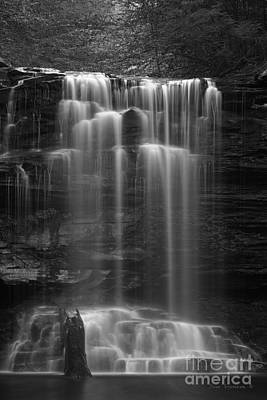 White River Scene Photograph - Weeping Wilderness Waterfall Black And White by John Stephens