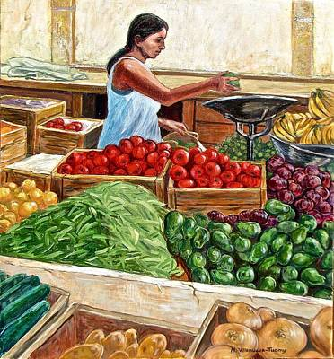 Green Beans Painting - Weighing Avocados, Mexico by Mary Villanueva-Tuomy