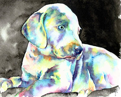 Silver Background Painting - Weimeraner Puppy by Christy  Freeman