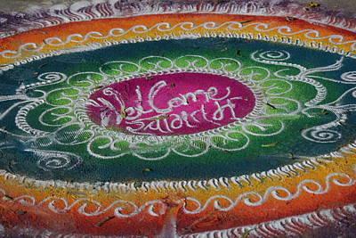 Rangoli Photograph - Welcome, Radhanath's Talk, Vrindavan by Jennifer Mazzucco