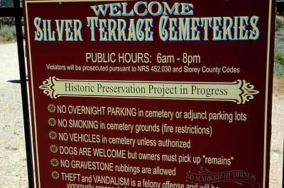 Welcome Silver Terrace Cemeteries Print by LeeAnn McLaneGoetz McLaneGoetzStudioLLCcom
