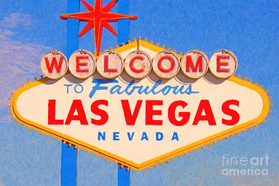 Welcome To Fabulous Las Vegas Nevada Print by Wingsdomain Art and Photography