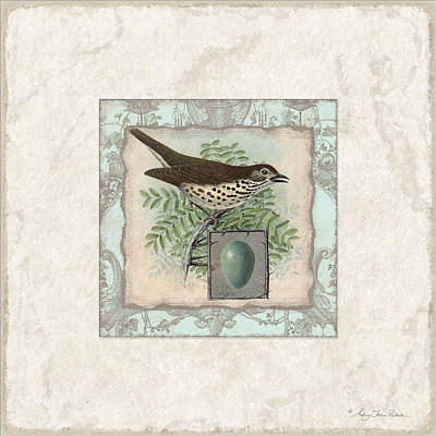 Robin Mixed Media - Welcome To Our Nest - Vintage Bird W Egg by Audrey Jeanne Roberts