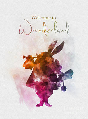 Rabbit Mixed Media - Welcome To Wonderland by Rebecca Jenkins