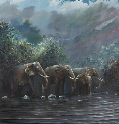 India Wildlife Painting - Welcome Waters by Vincent Alexander Booth