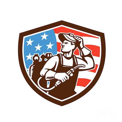 Welder Looking Side Usa Flag Crest Retro Print by Aloysius Patrimonio