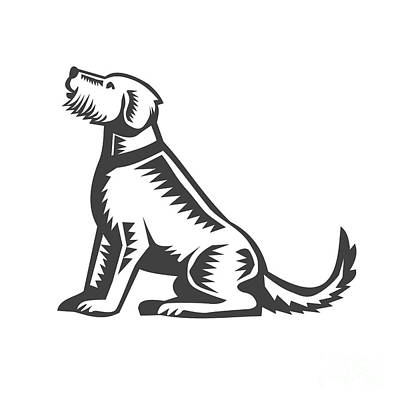 Welsh Terrier Sitting Woodcut  Print by Aloysius Patrimonio