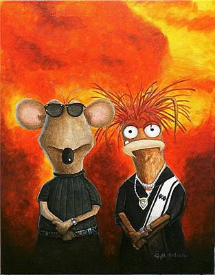 Muppets Painting - We're Bad Boys Okay by Al  Molina