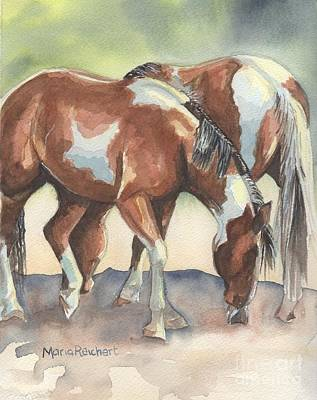 Horse Watercolor Painting - We're In This Together by Maria's Watercolor
