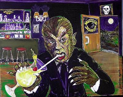 Dungeon Painting - Werewolf Drinking A Pina Colada At Trader Vic's by Jonathan Morrill