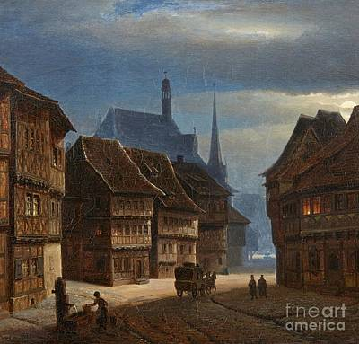 Wernigerode Marketplace By Night Print by Georg Heinrich