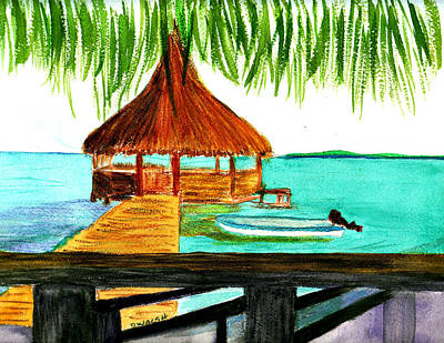 Plein Air Painting - West End Roatan by Donna Walsh