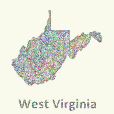 Virginia Drawing - West Virginia Line Art Map by David Zydd