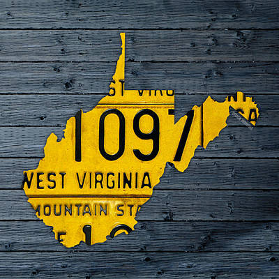 Mountain Art Mixed Media - West Virginia State Recycled Vintage License Plate Map Art by Design Turnpike