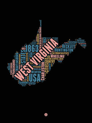 Word Cloud Mixed Media - West Virginia Word Cloud Map 1 by Naxart Studio
