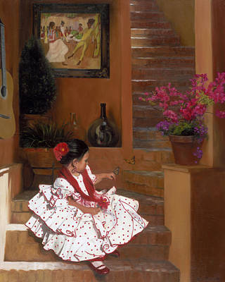 Steps Painting - Western Grace Of Good Cheer    Mexico    From The Three Graces Of The West by Anna Rose Bain