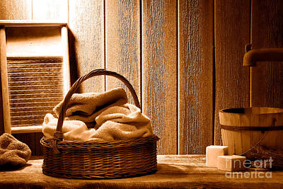 Old Washboards Photograph - Western Laundromat - Sepia by Olivier Le Queinec