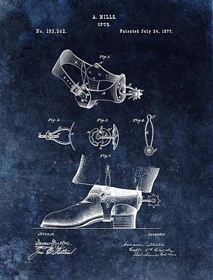 American West Mixed Media - Western Style Cowboy Spurs Patent by Dan Sproul