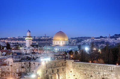 Islamic Photograph - Western Wall And Dome Of The Rock by Noam Armonn