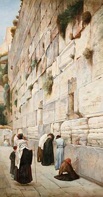 Gustav Bauernfeind Painting - Western Wall. Jerusalem by Gustav Bauernfeind