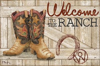 Cowboy Boots Painting - Western Wear - Welcome To The Ranch by Paul Brent