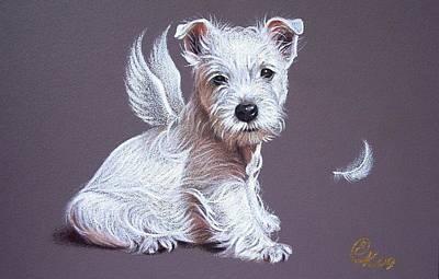 Dogs Drawing - Westie Angel by Elena Kolotusha