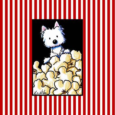 Westie Digital Art - Westie Popcorn Lover by Kim Niles